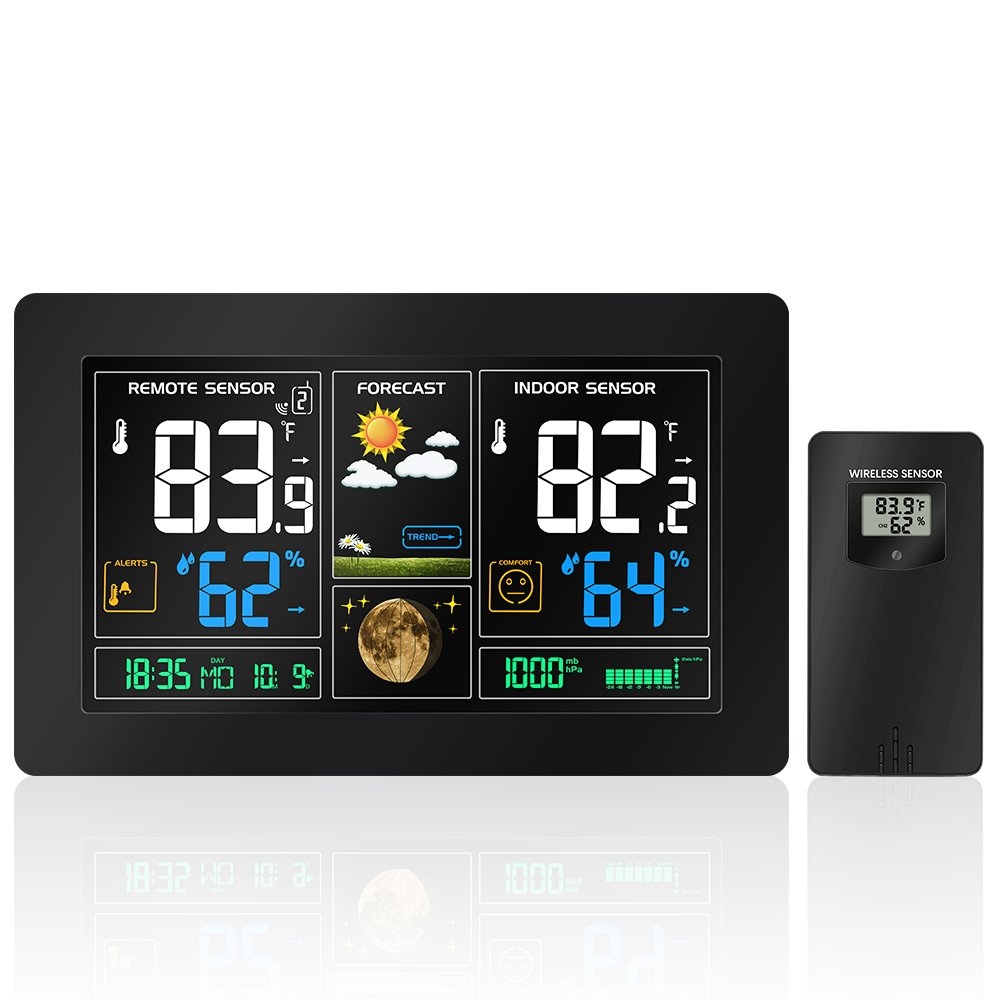 Protmex Indoor Outdoor Weather Station, Digital Color Forecast Station with Alert and Temperature/Humidity/Barometer/Alarm/Moon phase/Atomic Clock and USB Charging with Outdoor Sensor Black(PT3378)