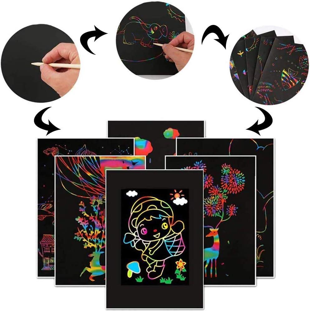 BESLIME Scratch Art Incluye con 11 Plantillas 3 l/ápices de Madera 1 sacapuntas para Fotos de Scratch Art Escribir Listas 65 Hojas Dibujo L/áminas para Rascar Creativas Papel para Dibujar con Ni/ños