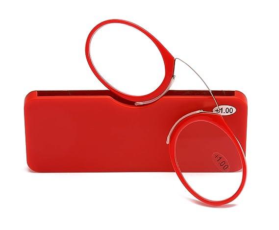 52f9c9cf4f6a Amazon.com  SOOLALA Women Men Go Everywhere SOS Pince Nez Style Nose  Resting Pinching Portable Wallet Reading Glasses
