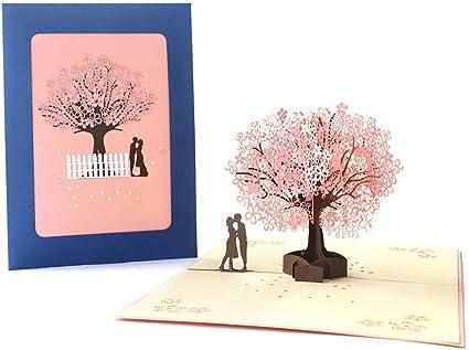 3D Biglietti Auguri 3D Pop-up San Valentino Biglietti di Auguri invito Matrimonio Carta,Anniversario 3D Carta Romantici Sotto il Ciliegio per Compleanno Romantico e per Anniversario//Nozze