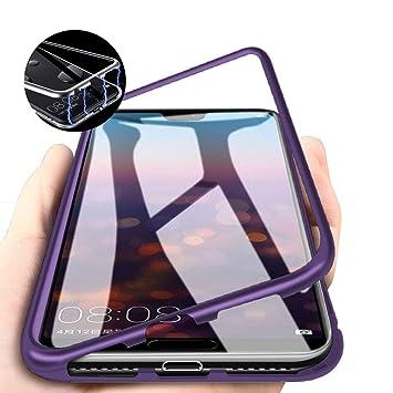 DoubTech Funda Magnética Huawei P20 Pro +Vidrio Templado Protector de Pantalla, Cover Ultra Delgado Marco Metal con Vidrio Templado Caso de adsorción ...