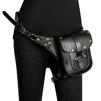 CHUDAN Steampunk Sport Tactical Waist Pack Pierna Bolsa Vintage Gothic Fanny Pack Impermeable Cuero PU Multifunción Punk Negro Messenger Bag Cintura para Hombres, Mujeres: Amazon.es: Deportes y aire libre