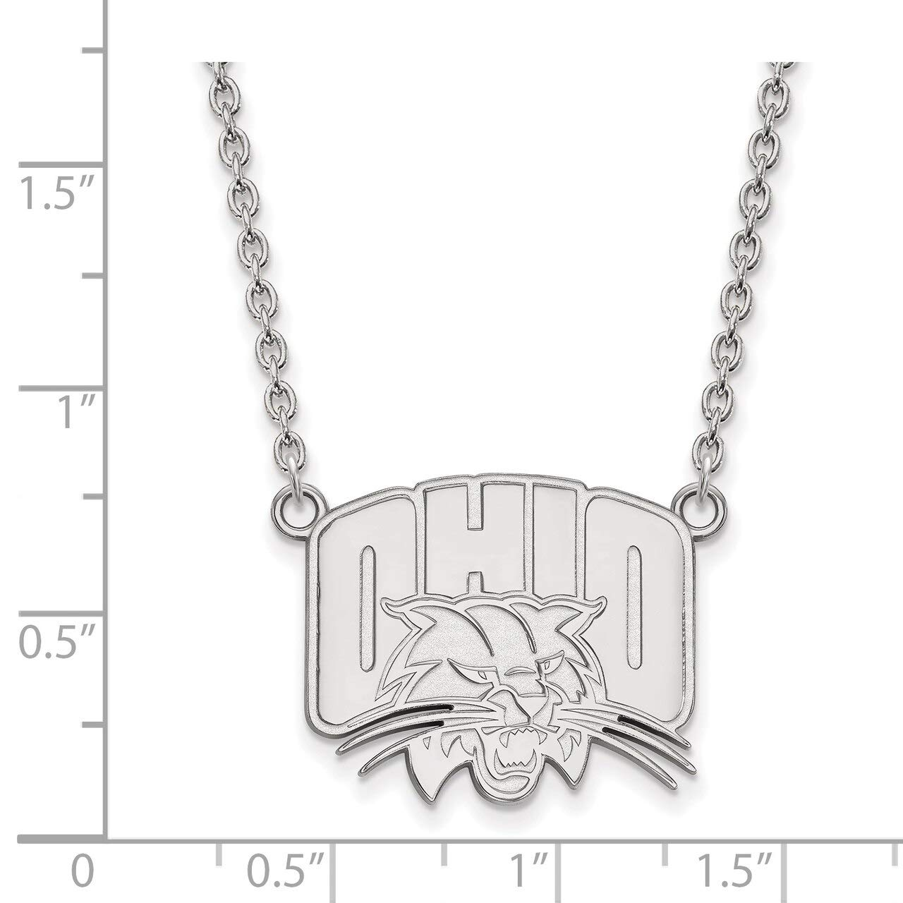 Lex /& Lu LogoArt Sterling Silver Ohio University Large Pendant w//Necklace