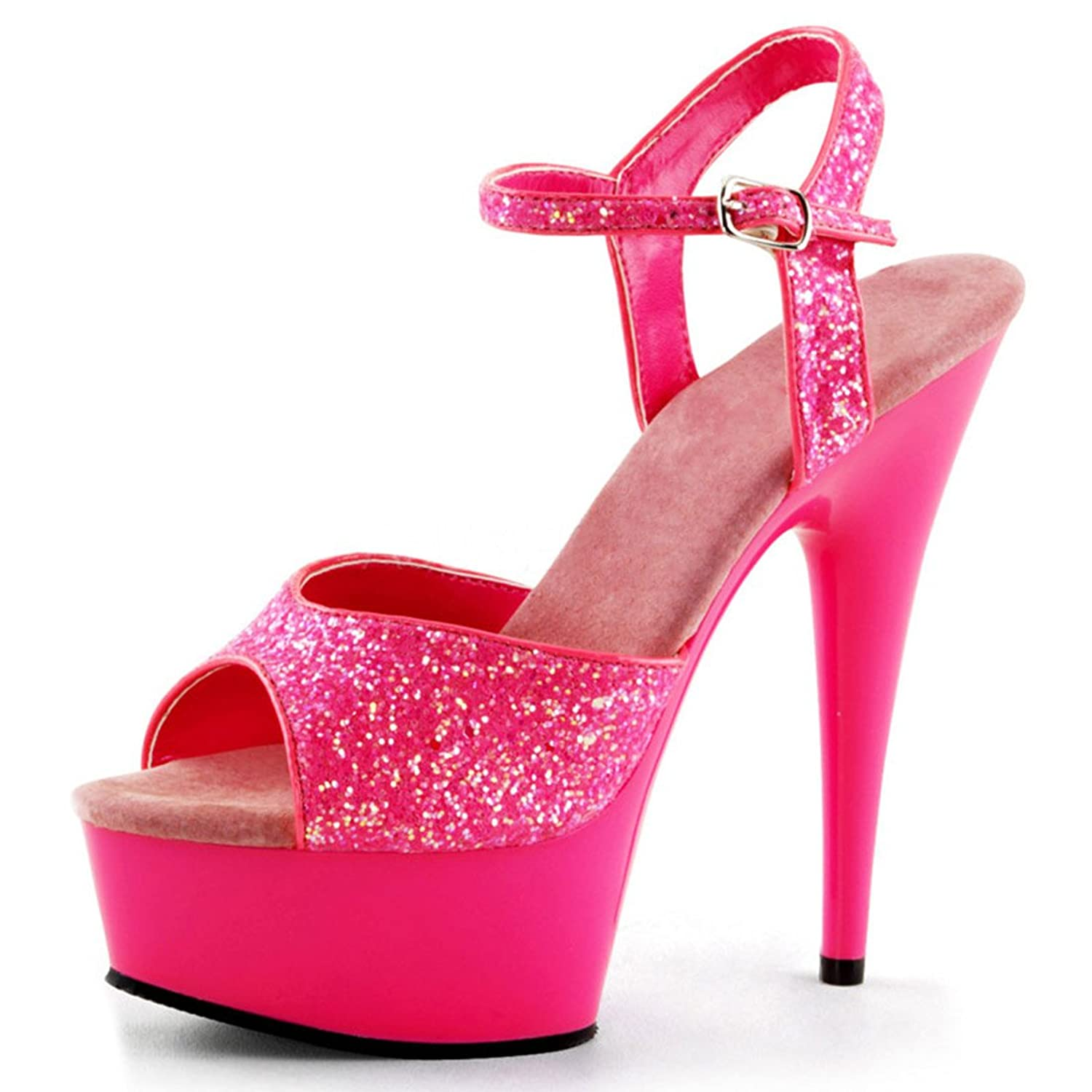 Amazon.com | Fun and Sexy UV Reflective Neon Pink Heels with ...
