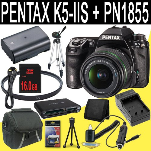 Pentax K-5 IIs Digital SLR Camera + SMC DA 18-55mm f/3.5-5.6 AL Weather Resistant Lens + D-LI90 Replacement Lithium Ion Battery + External Rapid Charger + 16GB SDHC Class 10 Memory Card + 52mm UV Filter + Mini HDMI Cable (Iis Class Bundle)