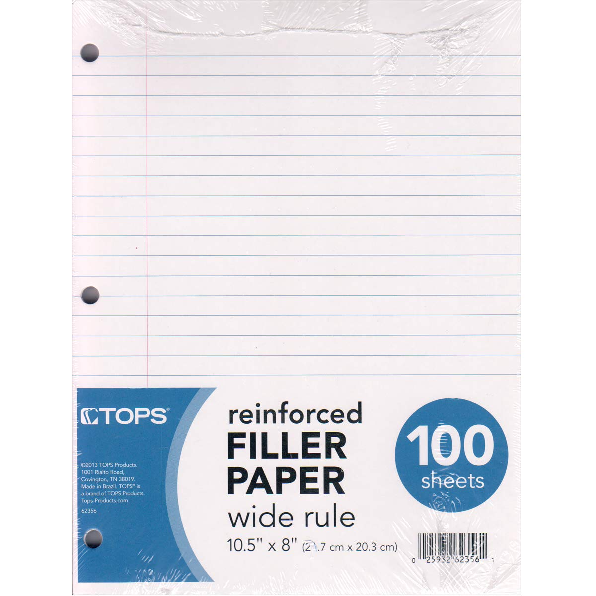 Reinforced Filler Paper - Wide Ruled (Case of 12) Ideal for bulk buyers by E.clips USA