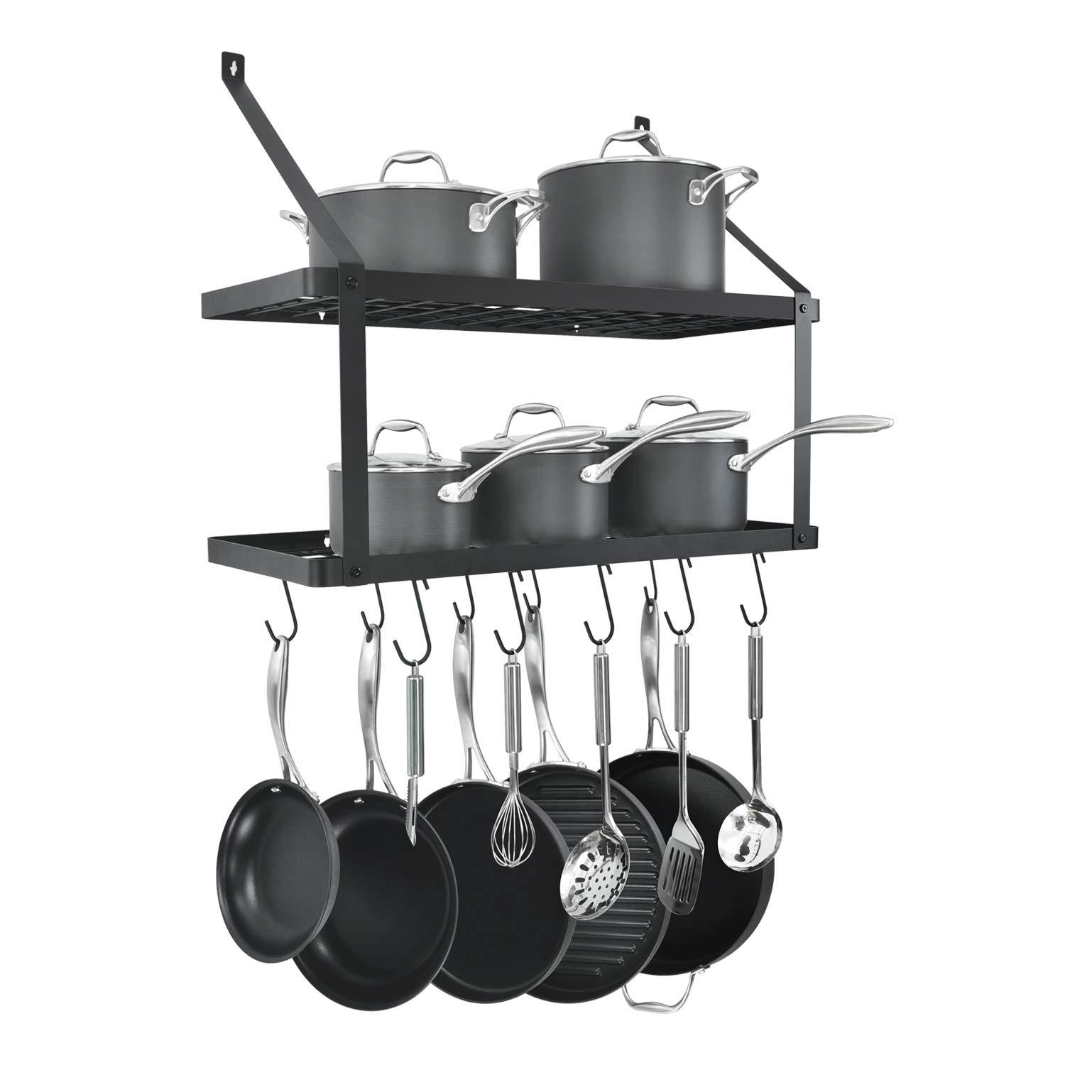 HomeLifairy Wall Mounted Double Pot Shelf Rack Pan With 10 Pot And Pan Hanging Hooks For Home Kitchen,Restaurant