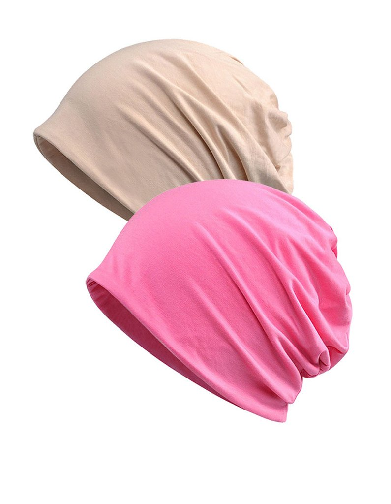Luccy K Womens Lightweight Cotton Chemo Hat Beanie Scarf - Beanie Cap Bandana For Cancer 2 Pack
