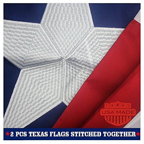 Together Embroidered Top (Texas State Flag 3x5 Ft - Made in US - with 2-Sided Embroidered for Outside- Double Sewn Stripes and Brass Grommets, UV Protected, 3 by 5 USA Flag and Texas Flag)