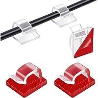 Organizador Clip de Cable, 130 Piezas Clips Cables Adhesivo, Cable Clip Plástico Organizadores de Cables de Gestión de…
