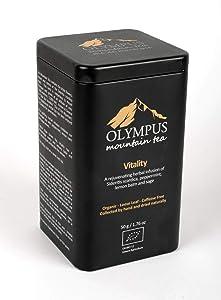 Vitality OLYMPUS Mountain Tea. Organic Greek Herb Tea Mix of: Sideritis Scardica (Greek Mountain Tea), Peppermint, Lemon Balm and Sage. Metal Tin Box 50 g. / 1.76 oz