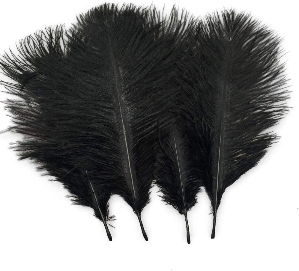 Sowder 20pcs Natural 10-12inch(25-30cm) Ostrich Feathers Plume for Wedding Centerpieces Home Decoration(Black)