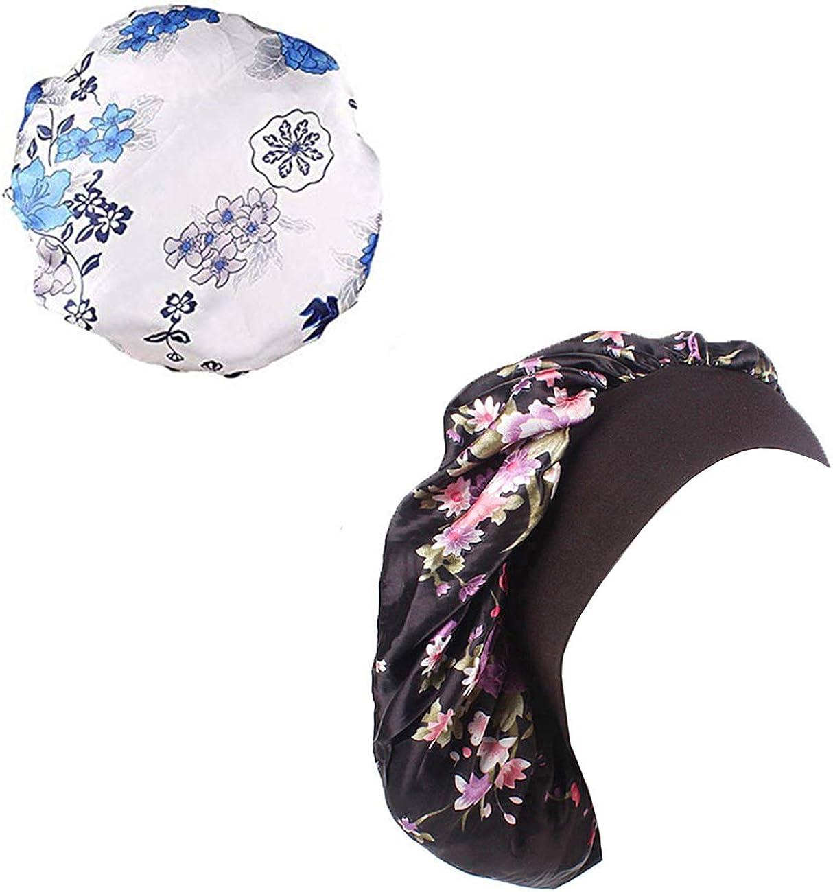 Soft Satiny Sleep Cap Bonnet Wide Band Night Sleep Hats for Womens,Hair Loss,Natural Hair