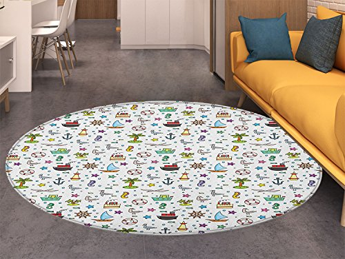 Kids Non Slip Round Rugs Nautical Cartoon Elements Ships Flying Birds Buoy Starfishes Palm Trees and Bubbles Oriental Floor and Carpets (Palm Tree Bubble Lamp)