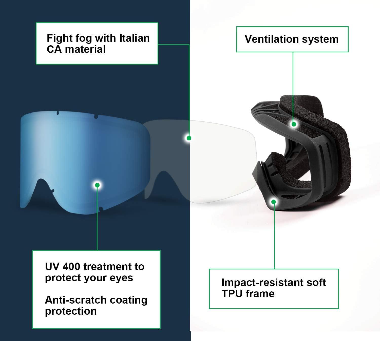 Unigear Gafas de Esquí OTG Esquiar Protección UV 400 ...