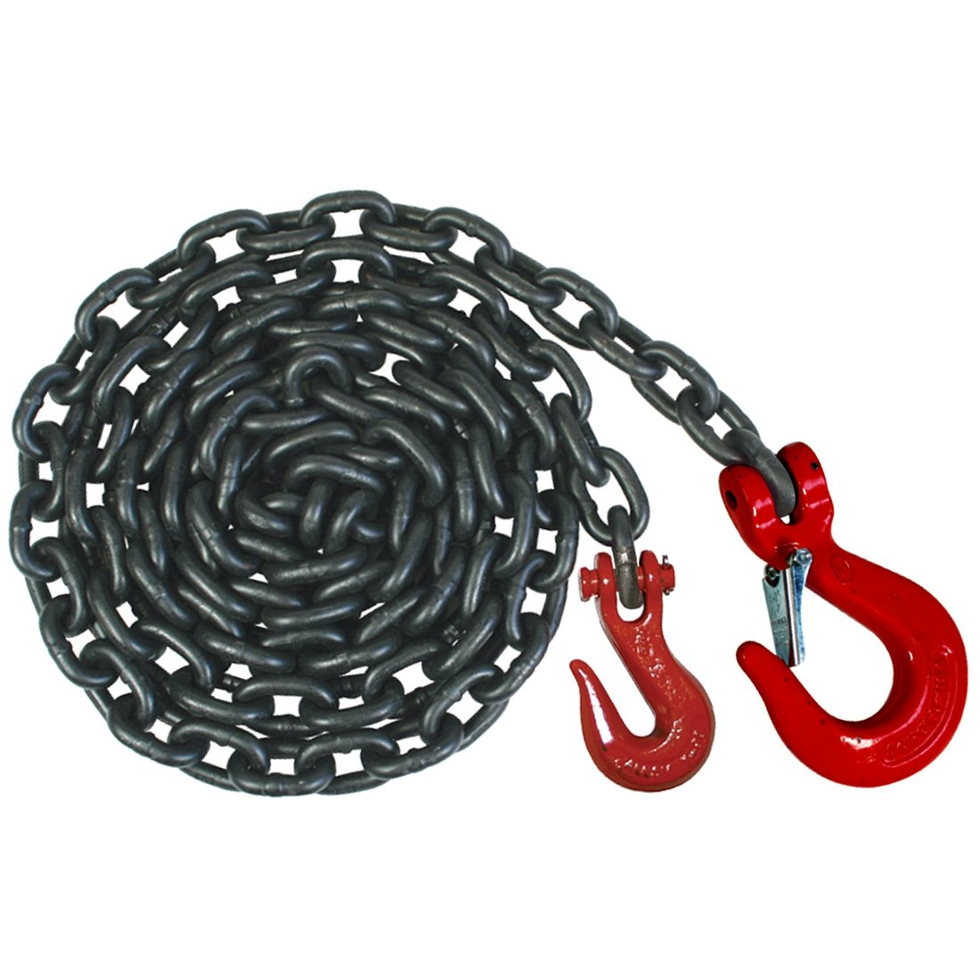Vulcan Classic Grade 80 Heavy Duty Safety Chain With Grab And Sling Hooks - 7,100 lbs. Safe Working Load (3/8'' x 12')