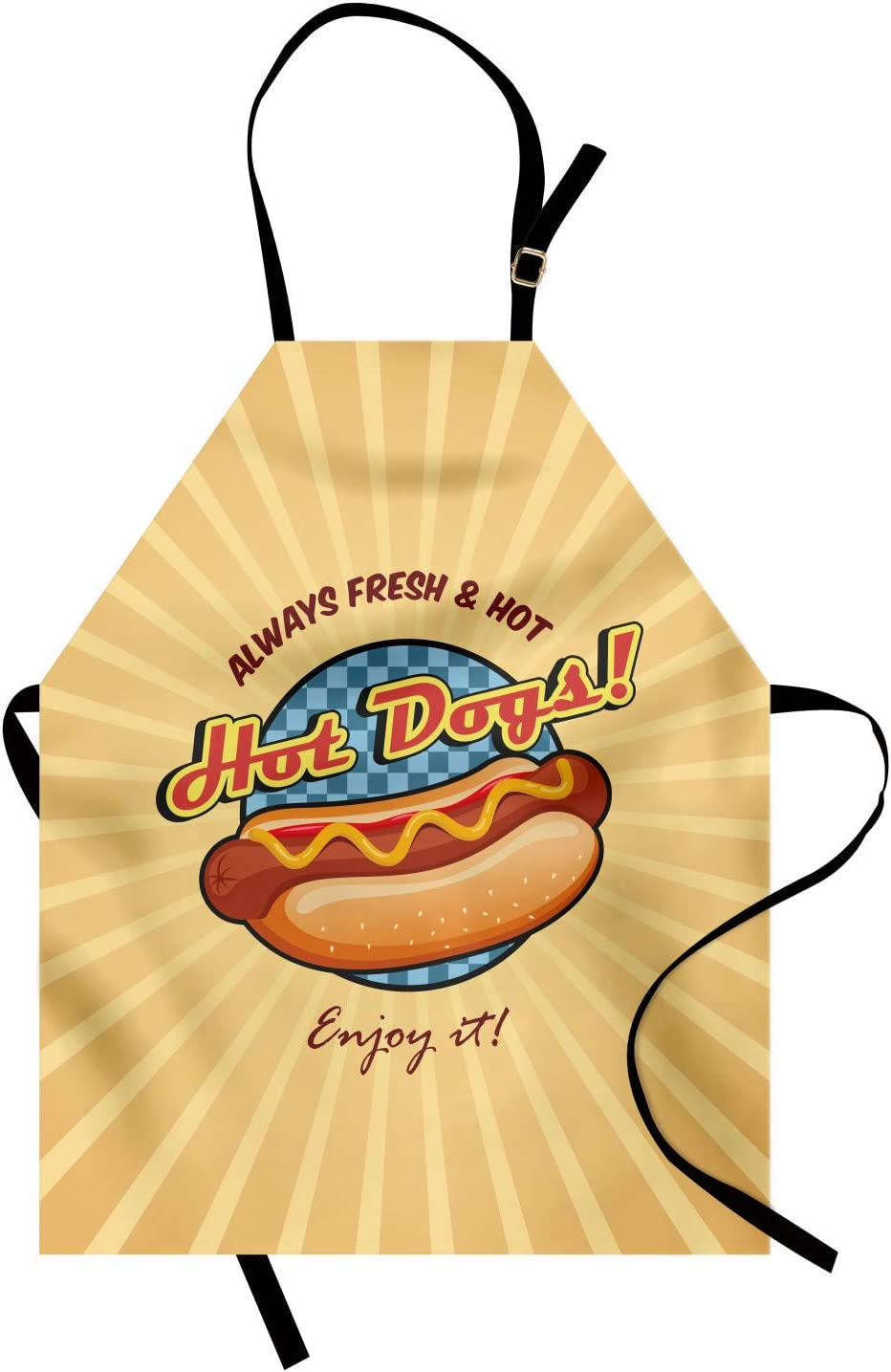 Ambesonne Snack Apron, Cartoon Design for Hot Dog Fast Food Stands Carts Sandwich, Unisex Kitchen Bib with Adjustable Neck for Cooking Gardening, Adult Size, Pastel Brown