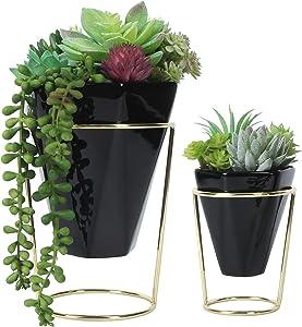 J JACKCUBE DESIGN Geometric Planter, Desk Decor Gold/Black Ceramic Vases for Succulents, Air Plants, Mini Catus, Faux Plants (Set of 2) - MK654A
