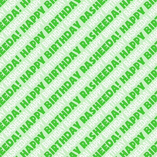 Rasheeda Happy Birthday Premium Gift Wrap Wrapping Paper Roll - Green