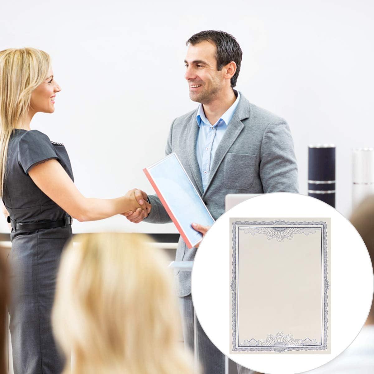 TOYANDONA 5Pcs Certificati di Certificazione in Bianco Carta Certificato A4 Blu Certificato di Diploma Foglio 12K per Prodotti Scolastici per Ufficio
