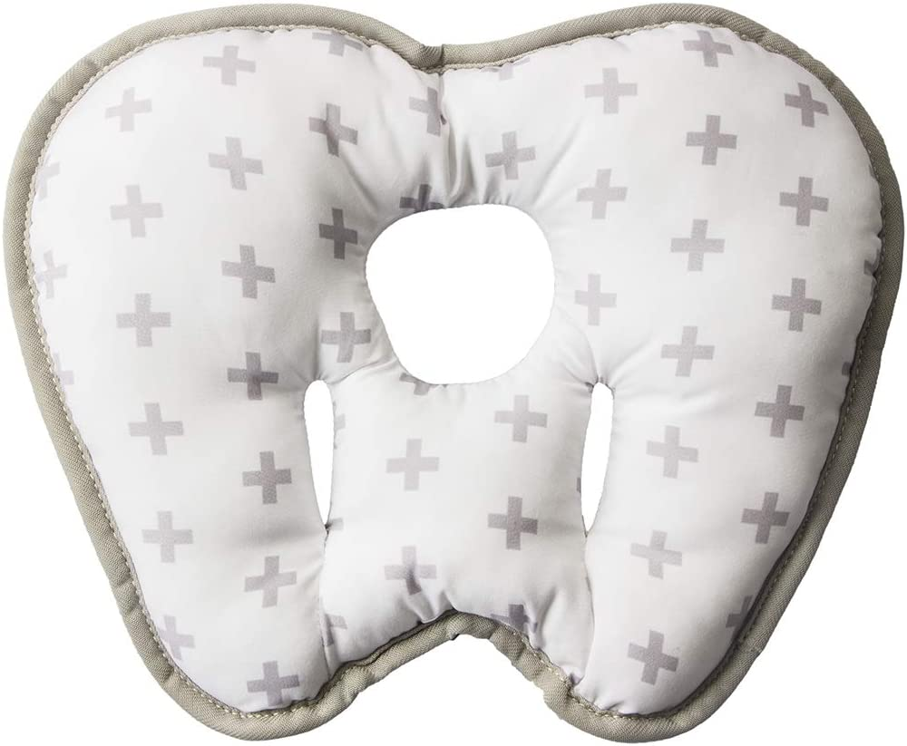 KAKIBLIN 2 en 1 almohada para cabeza de beb/é con cuello de pl/átano para 3 meses a 1 a/ño almohada de viaje para cochecito o cama cruz gris