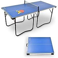 WIN.MAX Mesa de Ping Pong de tamaño Mediano Plegable (182x87 cm), Pre-ensamblado, Mini Mesa de Tenis de Mesa portátil…