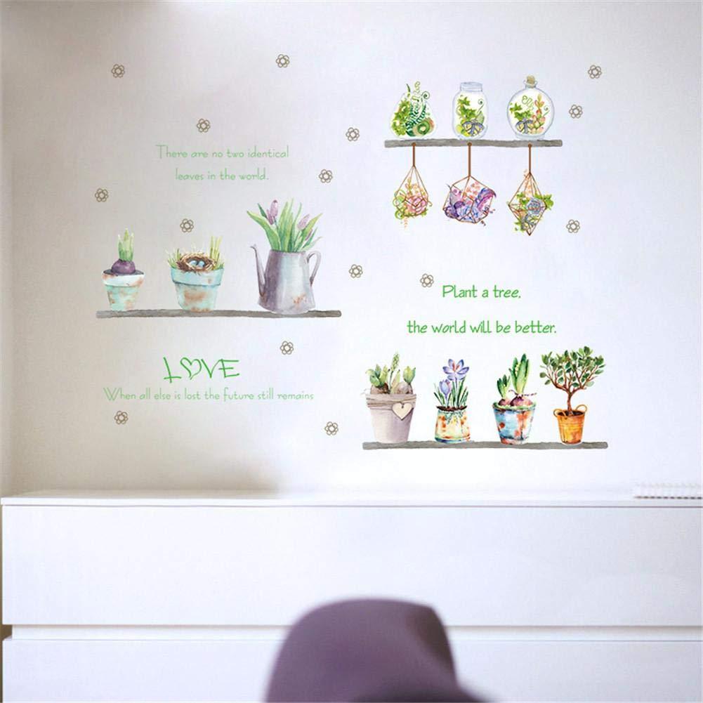 PROKTH Vinilos de pared infantiles Pegatinas decorativas pared Papel tapiz para pared Cocina Coche Dormitorio Planta en maceta Inmortal Verde 1set
