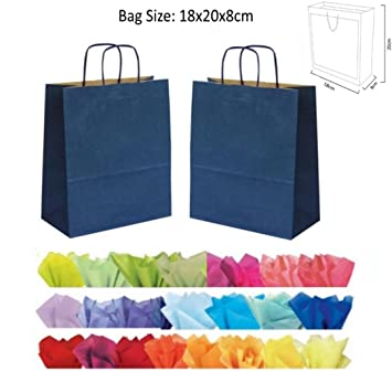 1b74f9ae97 x 10 BLUE GIFT BAGS WITH TISSUE PAPER - (NAVY) CHRISTMAS   BIRTHDAY ...