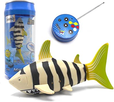 eMart Mini Control remoto Juguete RC Eléctrico Pescado Tiburón Barco Nadar en Agua Para Niños Regalo - (Amarillo)