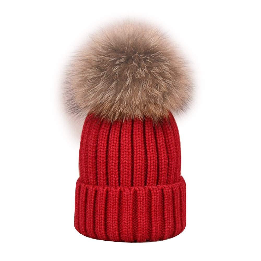 Jacinto Fashion Cute Boys Girls Warm Knitted Beanie Winter Hat Cap, Red