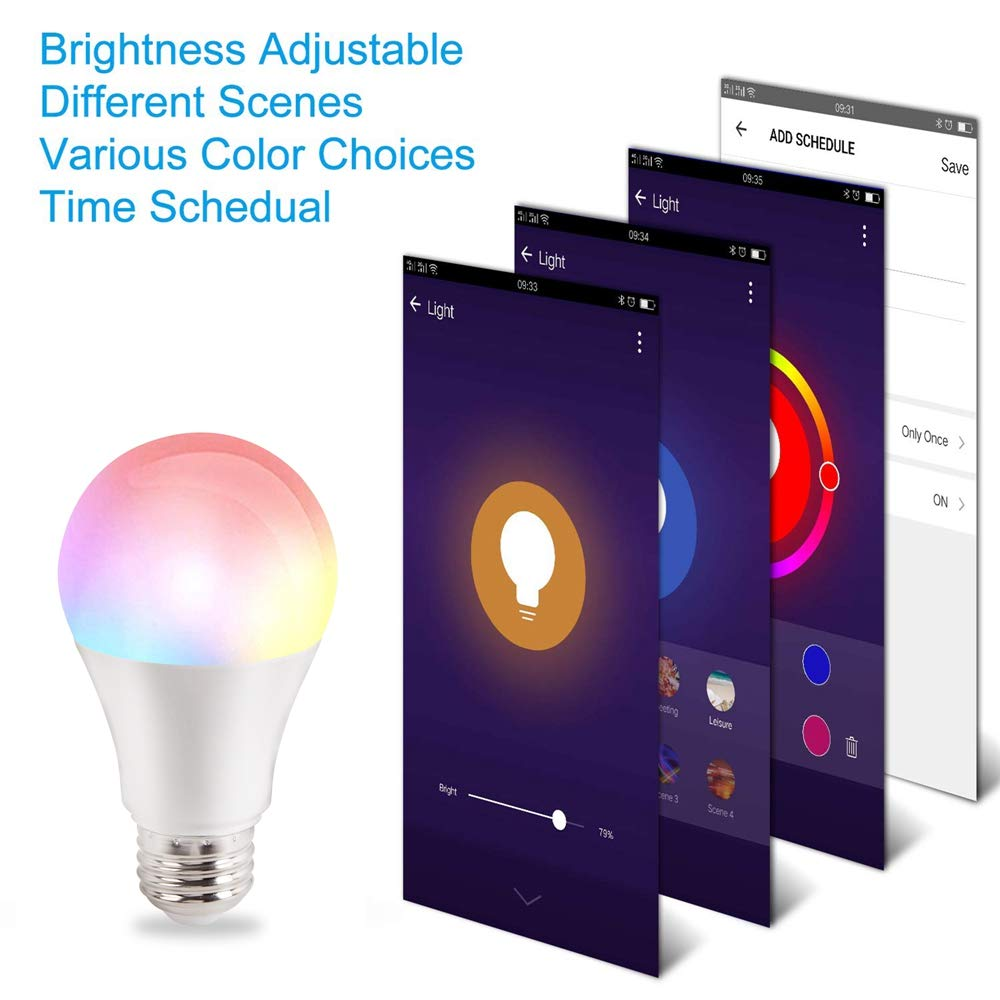 Google Home Free APP Remote Controlled Home Night Lamp with RGB Coloring Changing,2700K,1 Pack. Echo Smart LED Light Bulb Warm White Lamp Compatiable with Alexa