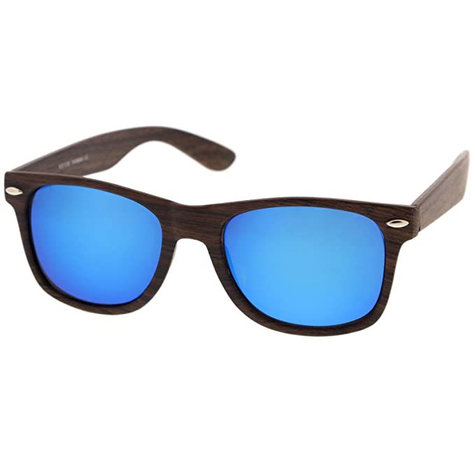2f3c5731e8 Classic Wood Printed Colored Mirror Square Lens Horn Rimmed Sunglasses 54mm  (Dark Wood Blue