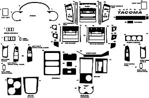 Rvinyl Rdash Dash Kit Decal Trim for Toyota Tacoma 2005-2011 - Carbon Fiber 4D (Black)