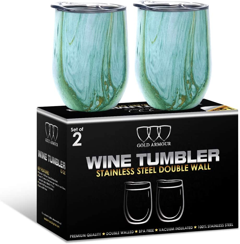 2 Pack Stainless Steel Wine Glass Tumbler with Lid, 12 oz Double Wall Vacuum Insulated Travel Tumbler Cup, Coffee Water Bottle Cup (Seafoam Pattern)