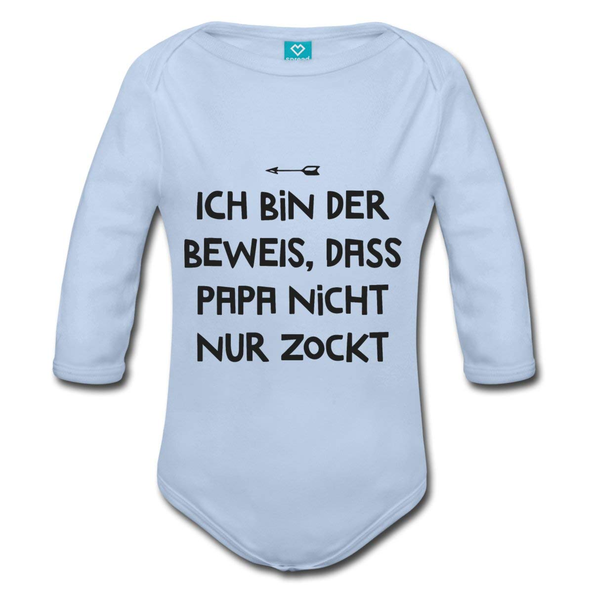 Spreadshirt Ich Bin der Beweis Papa Zockt Nicht Nur Gamer Vater Baby Bio-Langarm-Body D142009461-PT816-1