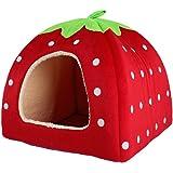 Xhan Cute Soft Sponge Strawberry Pet Cat Dog House Bed Warm Cushion Basket