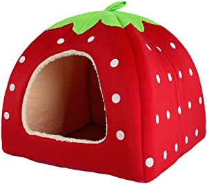 Leegoal Cute Soft Sponge White Dots Strawberry Pet Cat Dog House Bed with Warm Plush Pad(Red,M)