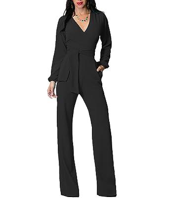 4d43eed7e35 Amazon.com  IyMoo Women V Neck Belted Sleeveless Wide Leg Jumpsuit Black  Large  Clothing