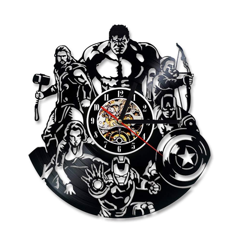 Unbekannt The Avengers Shape Vinyl Record Uhr Kreative Kreative Kreative Hohl Marvel Comics LED Wanduhr Iron Man Captain America Thor Hängende Uhr 078033