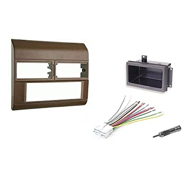 Beige Radio Stereo Dash Kit w/Wire Harness+Pocket+Antenna Adapter Fits Chevy Pickup Truck 88-94: Automotive