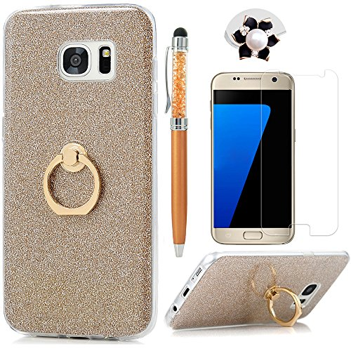 Galaxy S7 Edge Case (NOT for S7) 360 Degree Rotating Ring Holder Kickstand Shockproof Drop Protection TPU Bumper with Detachable Shiny Shell Slim-Fit Protective Cover for Samsung Galaxy S7 Edge - Gold