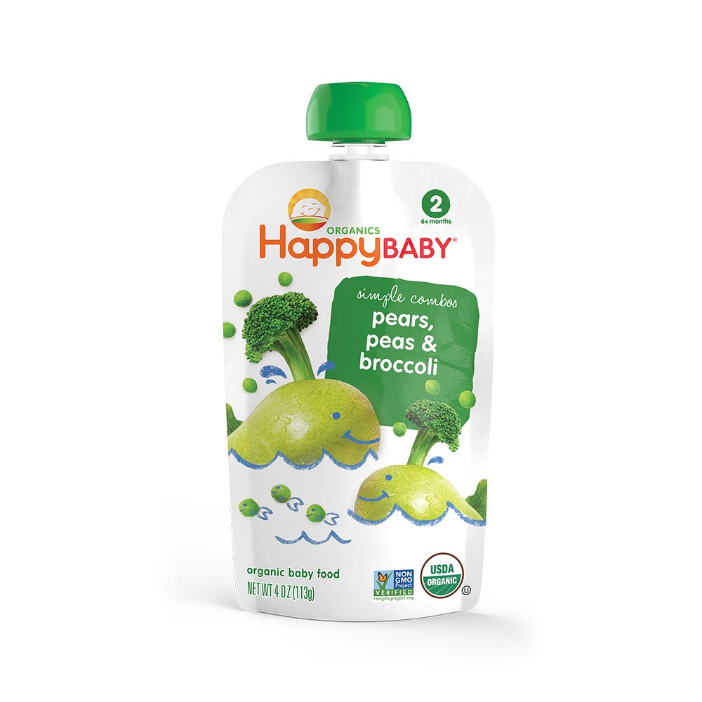 Happy Baby, Baby Food Stage 2 Special Combo Broccoli Pear Pea Organics, 4 Ounce