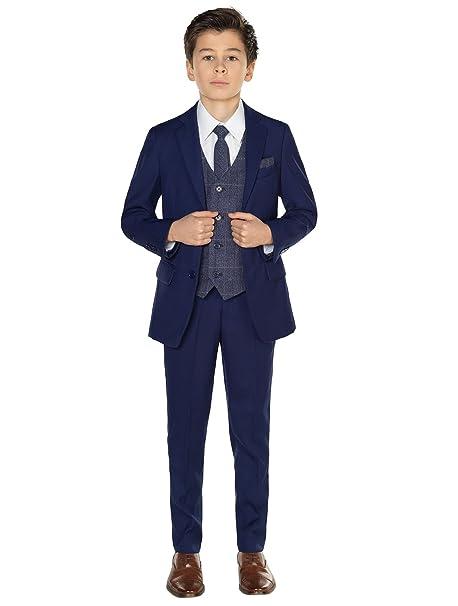 Paisley of London niño en Azul Traje, Página Niño Traje, Niños Traje De Boda, Azul Marino Chaleco, 12-18 meses-14 años: Amazon.es: Ropa y accesorios