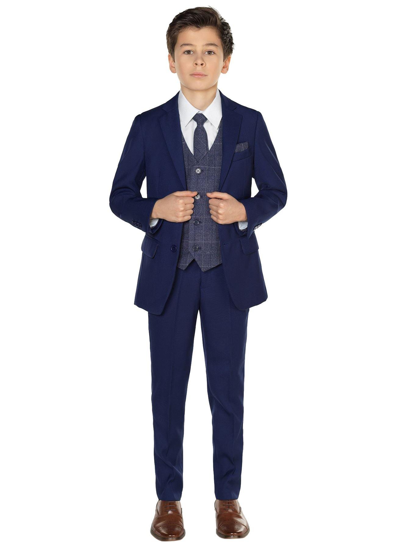 Paisley of London, Kingsman Blue, Boys Ring Bearer Suit Shirt Benedict Navy Vest, 12
