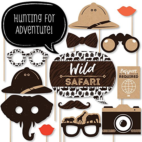 Add Wild Safari Jungle - Big Dot of Happiness Wild Safari - African Jungle Adventure Birthday Party or Baby Shower Photo Booth Props Kit - 20 Count
