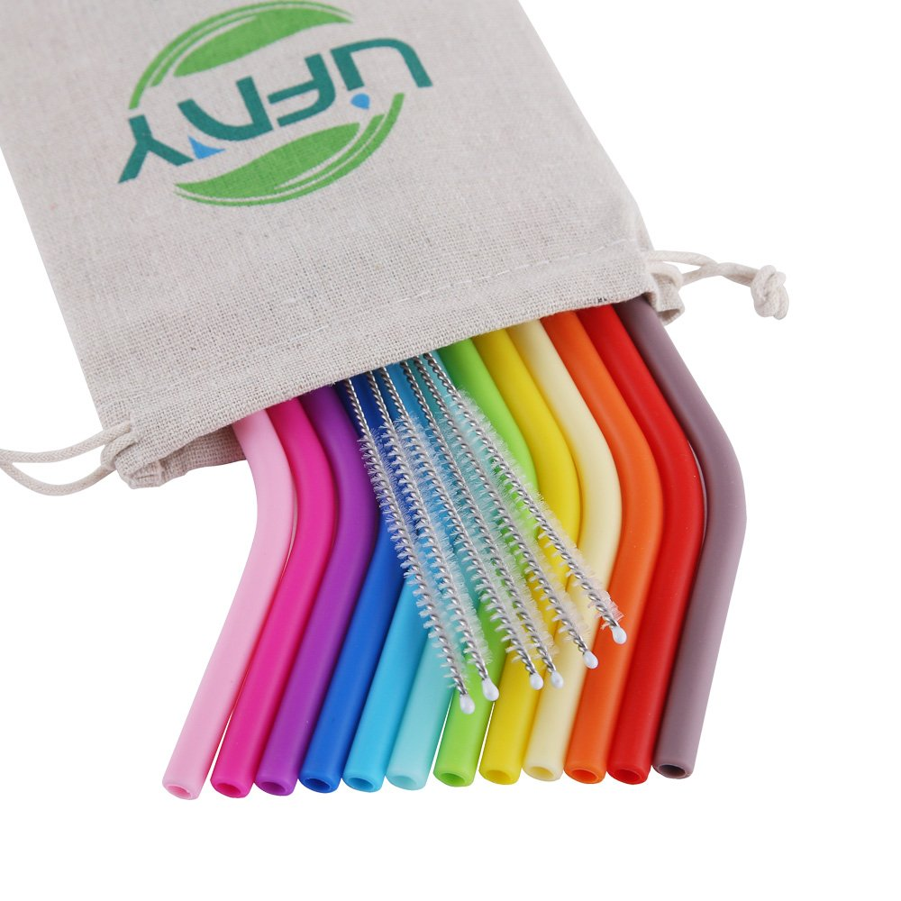 LIFNY 12Pcs REGULAR SIZE Silicone Straws Reusable Straws for 30&20 OZ Yeti/Rtic/Ozark Tumblers + 6Pcs Brushes+ 1 Linen Pouch