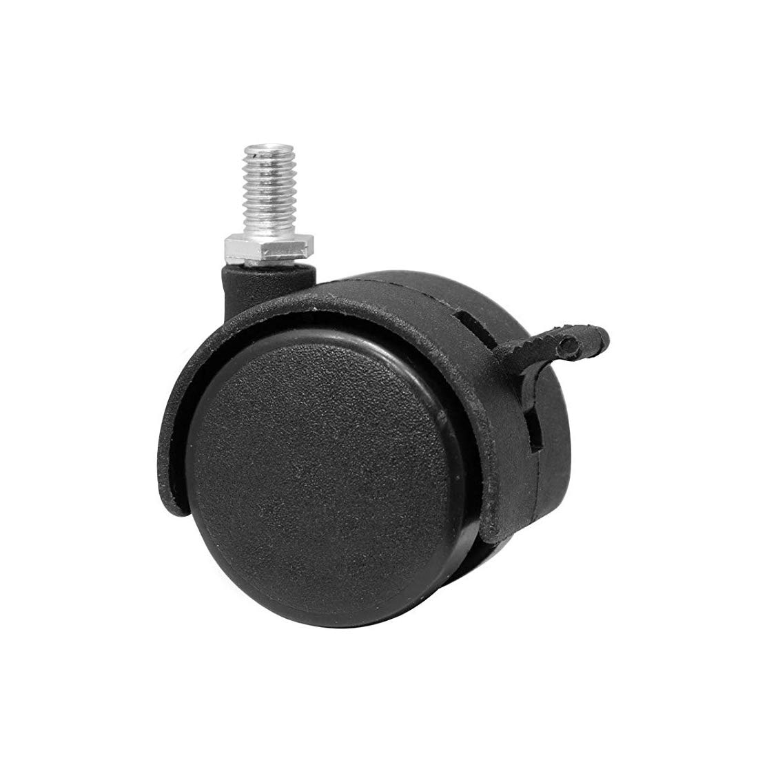10mm Screw Stem 1.5 Dia Wheel Plastic Swivel Brake Caster Wheels Casters,Uotyle Threaded Stem Caster Wheel 5 Pcs Black