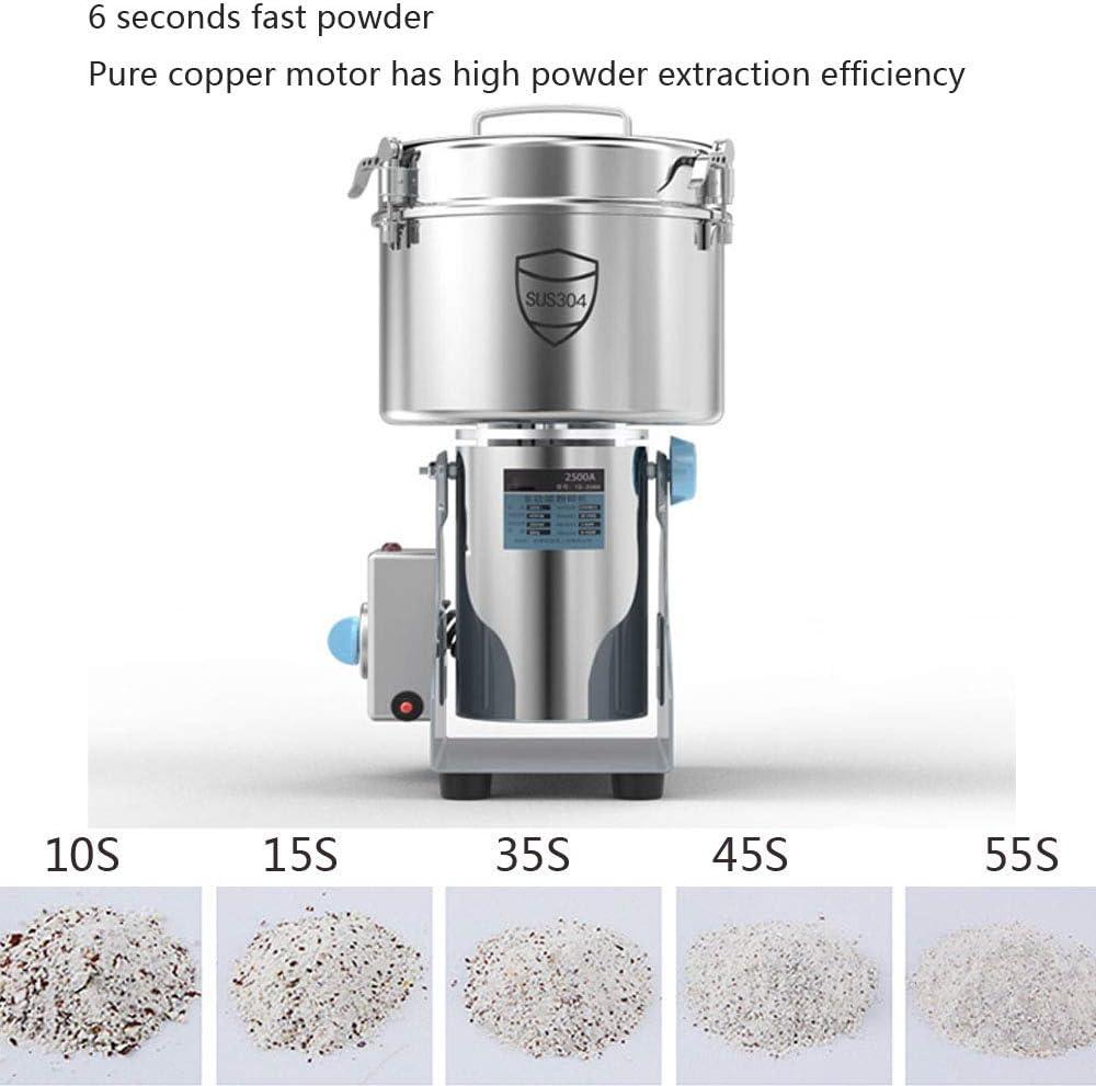 2500G Molino De Molienda Eléctrica De Granos Super Fino Polvo Tipo De Oscilación Acero Inoxidable De Grado Comercial para Frijol Semilla Nuez Especia Hierba Pimienta Cereal Trigo 220V: Amazon.es: Hogar