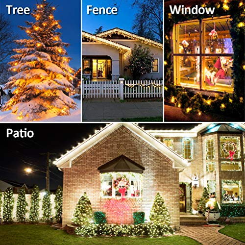 Ankway Solar String Lights 4 Pack, 100 LED Solar Fairy Lights 39 ft 8 Modes 3 Strands Copper Wire Lights Waterproof Outdoor String Lights for Garden Patio Christmas Tree Indoor Bedroom (Warm White)