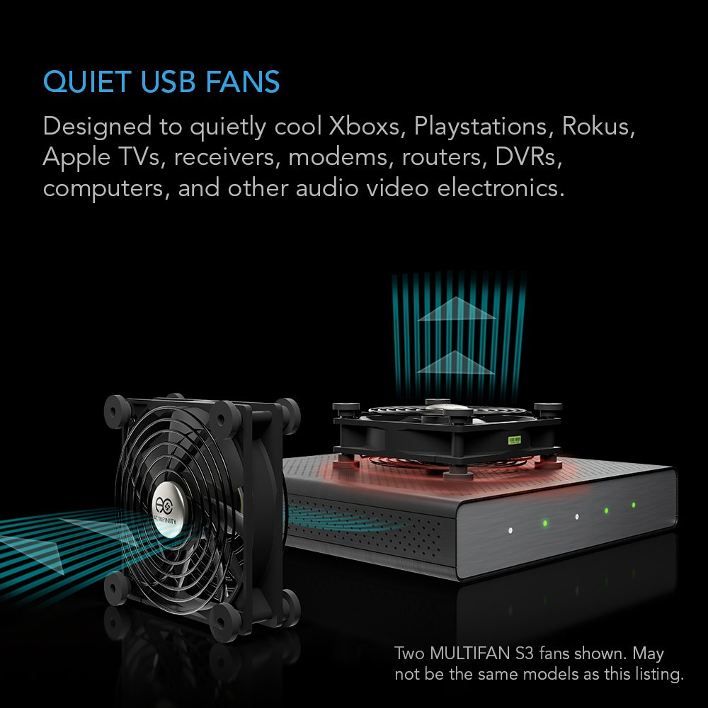 AC Infinity MULTIFAN S1, Quiet 80mm USB Fan for Receiver DVR Playstation Xbox Computer Cabinet Cooling by AC Infinity (Image #2)